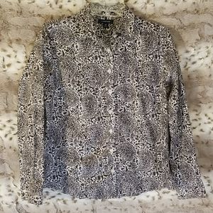 🖤Lands' End 12P no iron pinpoint oxford paisley